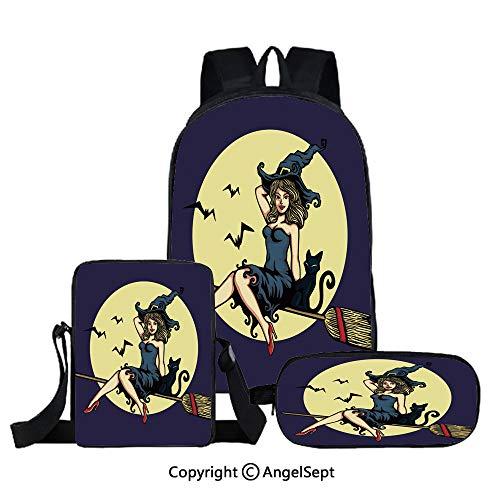 3 piece book bag set,Cute Pin up girl
