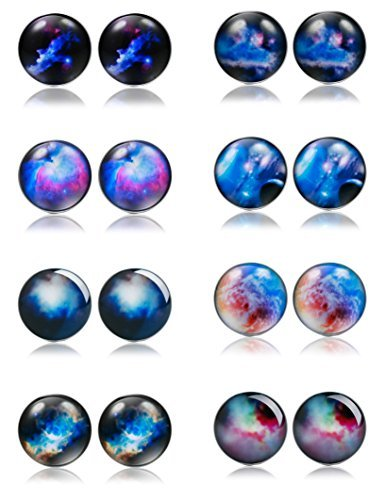 Thunaraz+8+Pairs+Unisex+Stainless+Steel+Stud+Earrings+Galaxy+Astronomy+Earrings+for+Girls+Boys