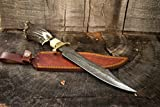 """15"""" Inch Fixed Blade Custom Hand Made Damascus Steel Hunting Bowie Knife Deer Antler (Stag) Handle With Leather Sheath"""