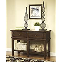 T845-4 Gately Console Sofa Table with Decorative Hardware Distressed Detailing and Bottom Shelf in Medium Brown