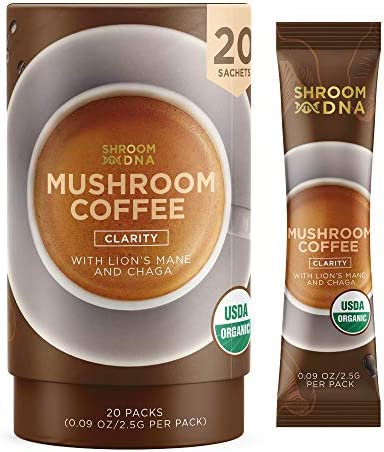 ShroomDNA Mushroom Coffee Blend with Chaga Lion s Mane Instant Focus Clarity All Day Organic Vegan Gluten Free No Added Sugar 20 Count