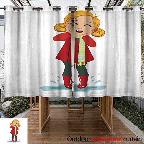 RenteriaDecor Home Patio Outdoor Curtain Girl in Red Coat and Rubber Boots Kid in Autumn Clothes in Fall Season Enjoyingn Rain and Rainy Weather Splashes and Pud W63 x L72 -