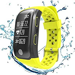 S908 GPS Smart Bands With Heart Rate Sleep Monitor Sedentary Reminder Pedometer IP68 Waterproof Fitness Trackers Smart Wristbands for iPhone Android (Yellow)