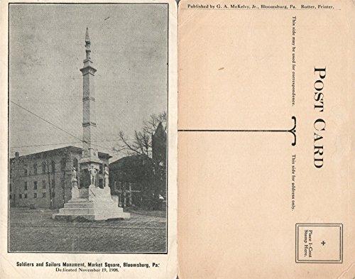 BLOOMSBURG PA MARKET SQUARE SOLDIER'S & SAILOR'S MONUMENT ANTIQUE POSTCARD