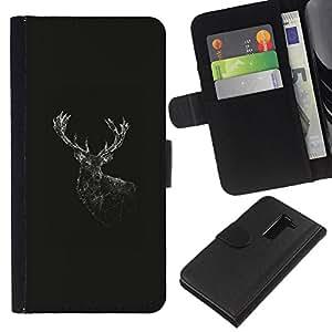 """A-type (Geometría de los ciervos"""") Colorida Impresión Funda Cuero Monedero Caja Bolsa Cubierta Caja Piel Card Slots Para LG G2 D800"""