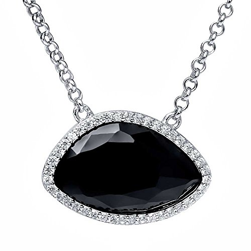 6.50 Ct Sterling Silver Fancy Onyx and White CZ Pendant Necklace 18