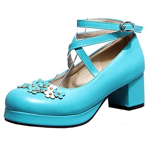 TAOFFEN Women Cute Block Heel Pumps Shoes Blue