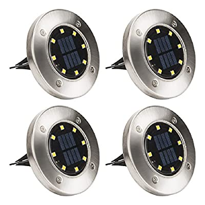 Solpex Solar Powered Disk Lights, 8LED Solar Pathway Lights Outdoor Waterproof Garden Landscape Lighting for Yard Deck Lawn Patio Walkway-Warm White (4 PACK)