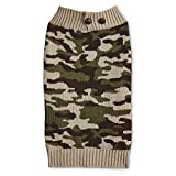 Bond & Co. Camo Dog Sweater with Button Collar, X-Small, Green