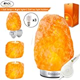 Maymii.Home (8-13 lbs,8-11in) Pink White Himalayan Salt Lamp Lights Air Purifier, Table Lamp Stainless Steel Base Touch Dimmer Switch Control with 1 Salt Night Light, Pack of 2 Salt Candle Holder