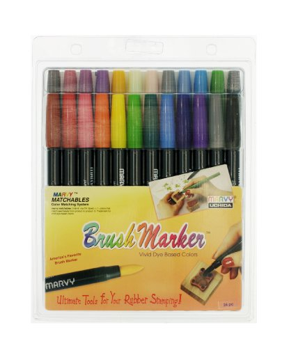 Uchida 1500-24 Brush-Tip Markers, Assorted Colors, Set of 24