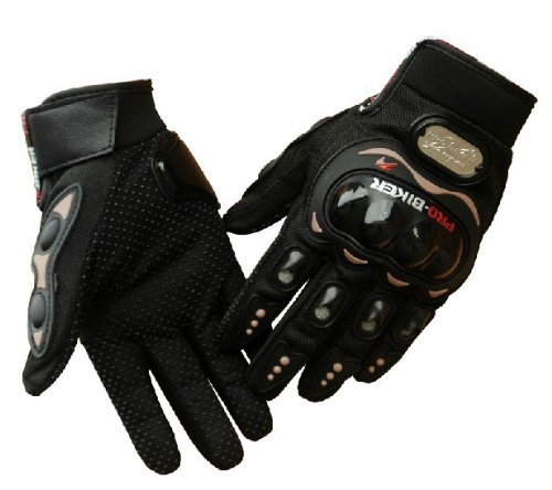 -  Tcbunny Pro-biker Motorbike Carbon Fiber Powersports Racing Gloves (Black, Large)