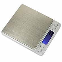 Vinjeely New 3000gx0.1g Precision Digital Portable Large Platform Jewelry Pocket Scale Blue Backlight Large-Screen Display Stainless Steel Pan TARE PCS Calibration Function Jewelry Fruit Balance Weight Scale G/GN/CT/OZ/OZT/DWT