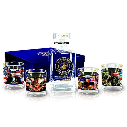 USMC Semper Fidelis 5 Piece Crystal Decanter and Glass Set with Gift Box by The Bradford Exchange by Bradford Exchange