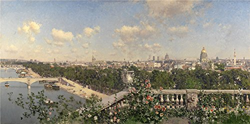 Oil Painting 'Rico Y Ortega Martin Vista De Paris Desde El Trocadero 1883 ' Printing On Polyster Canvas , 10 X 20 Inch / 25 X 51 Cm ,the Best (Homme Costume Paris)