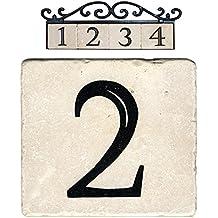 "NACH AZ-CLASSIC House Address Number Tiles - #2, Marble/Beige, 4 x 4"""