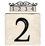 amazon warehouse house signs - NACH AZ-CLASSIC House Address Number Tiles - #2, Marble/Beige, 4 x 4