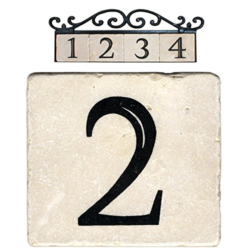 NACH AZ-CLASSIC House Address Number Tiles - #2, Marble/Beige, 4 x 4
