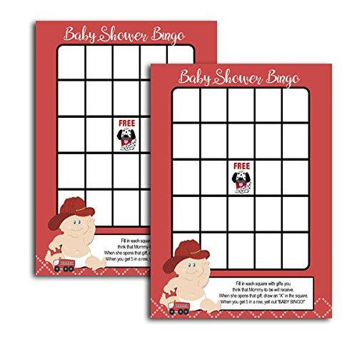 Baby Firefighter Boy Fireman Baby Shower Bingo Activity Game 20-pack by ABJ-Inc