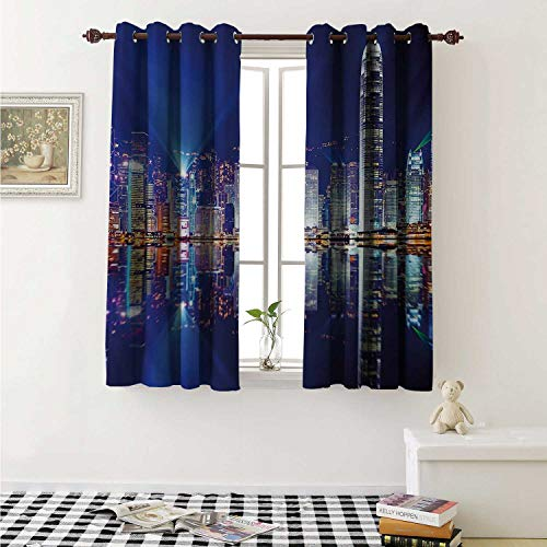 shenglv City Waterproof Window Curtain Hong Kong Island from Kowloon Vibrant View Water Reflection Modern China Curtains for Party Decoration W84 x L72 Inch Royal Blue Orange White -