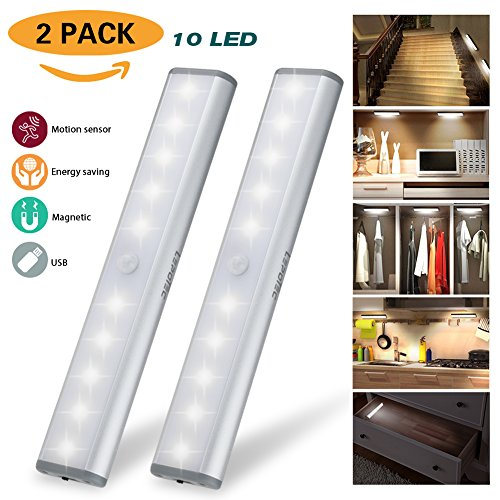 Wireless Motion Sensor Cabinet Lights,10-LED USB Rechargeable LED Light Bar for Wardrobe/Drawer/Stairs,Stick On Anywhere, 2 Pack, White Light, USB Cable Included