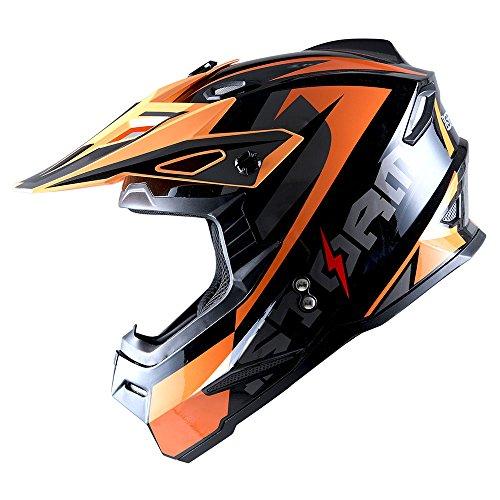 Sonic Helmet - 1Storm Youth Motocross Helmet BMX MX Bike Helmet Teenager Racing Style DOT; Sonic Orange