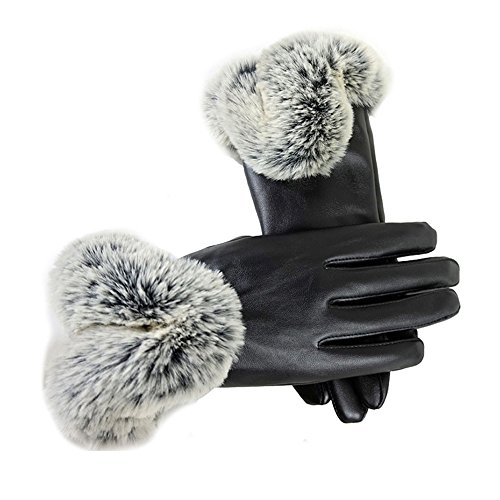 Vinmax Winter Women Touchscreen Driving Leather Gloves Warm Rabbit Fur Mittens