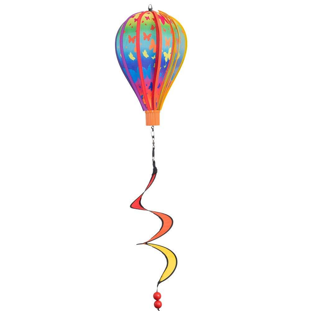 Gioco a vento - Micro Balloon Butterfly Twister - Resistente agli agenti atmosferici - Ballon: Ø17 cm X 28 cm, Cestino: 4 cm x 3.5 cm, Spirale: Ø10 cm X 35 cm - Ganci inclusi