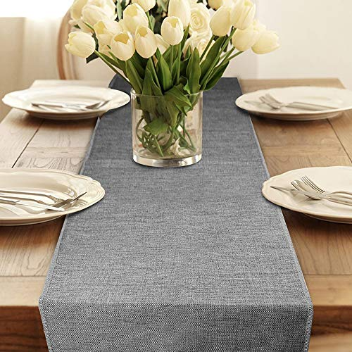 """Table Runner, Gray Burlap Table Runners Modern Farmhouse Table Runner for Coffee Table, Dining Table Cover Dresser Entryway Spring Table Runner Party Decorations 12"""" x 108 Inches Long Table Runners"""