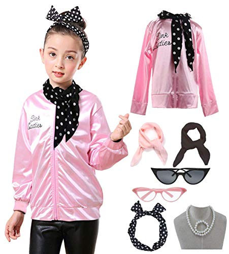 Child 1950s 50's Pink Ladies Jacket Outifit Accessories Set -