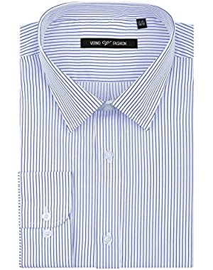 Fashion Men's Striped Fabric Long Sleeve Classic Fit Dress Shirt-Available in More Colors