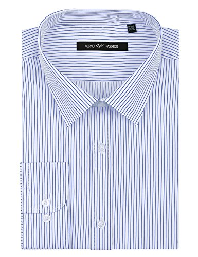 (Verno Fashion Men's Striped Fabric Long Sleeve Classic Fit Dress Shirt-Available in More Colors Light Blue/White)