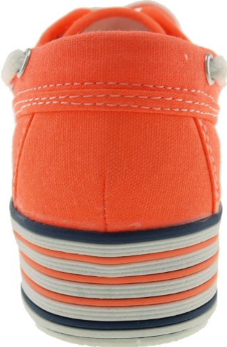 On C30 Boat Loafers Canvas Platform Orange Slip Maxstar Neon Women's xTwOUSnY