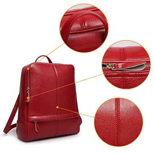 (JVP1059-K) Mochila de cuero de la mochila de las mujeres Mochila de cuero natural para niñas Mochila de moda impermeable de gran capacidad del bolso lindo Vino Tinto
