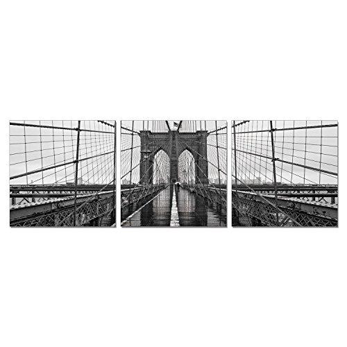 FURINNO Senik Brooklyn Bridge 3 Panel Medium Density Framed Photography Triptych Print, 72