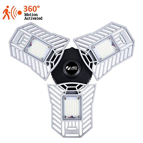 Led Garage Lights Motion Activated 60W 6000LM CRI 80 Led Shop Light with 3 Adjustable Panels for Garage Workshop Basement etc.