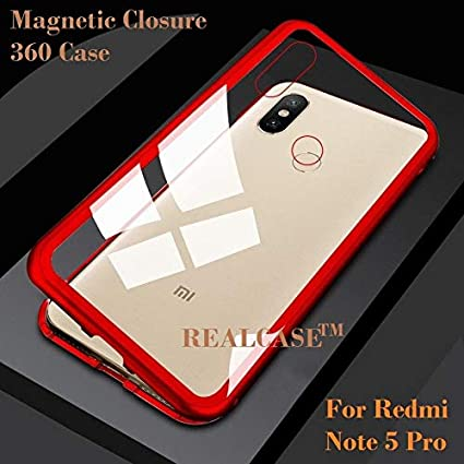 hot sale online f7881 ae3bf REALCASE Xiaomi Mi Redmi Note 5 Pro Magnetic Case:Ultra Slim Magnetic  Adsorption Metal Frame & Clear Tempered Glass on Back, Built-in Powerful  Magnet ...