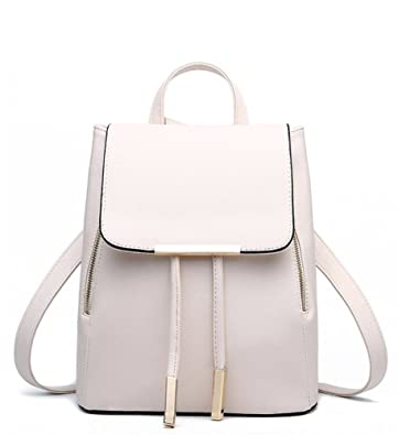 da99d77ce81 WINK KANGAROO Women s Fashion Shoulder Bag Rucksack PU Leather Backpack  Travel Bag, Beige, Medium