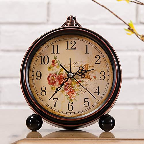 Vintage Retro American Clock - XIAOMEI American Retro Desk Alarm Clock Metal Non-Ticking Battery Operated Glass Cover Classic Clocks for Bedroom(Brown)-A