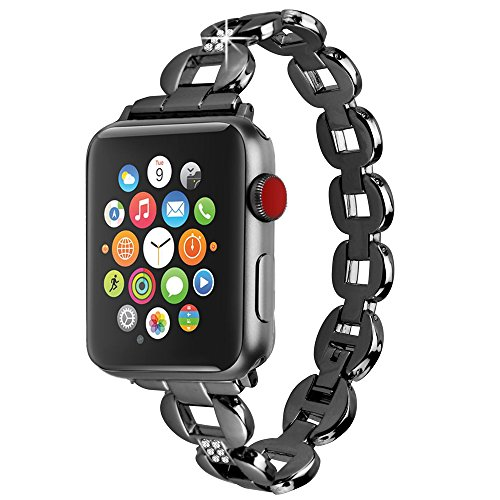 Moretek 38mm iWatch Black Stainless Steel Metal Replacement Bracelet Classic Band for Apple Watch 38MM Strap Series 2 Series 1 (Black 38MM)