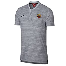 Nike 2018-2019 AS Roma Authentic Grand Slam Polo Football Soccer T-Shirt Maillot (Grey)