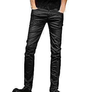 (ネルロッソ) NERLosso フェイクレザー スキニー パンツ メンズ ジーンズ スリム フィット 細身 チノパン 正規品 33サイズ ブラック cmi24222-33-bl