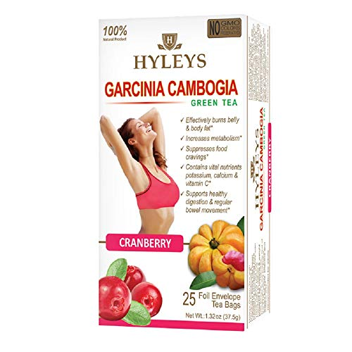 HYLEYS Tea Wellness Tea, Garcinia Cambogia and Cranberry, 25 Count, 1.32 Ounce