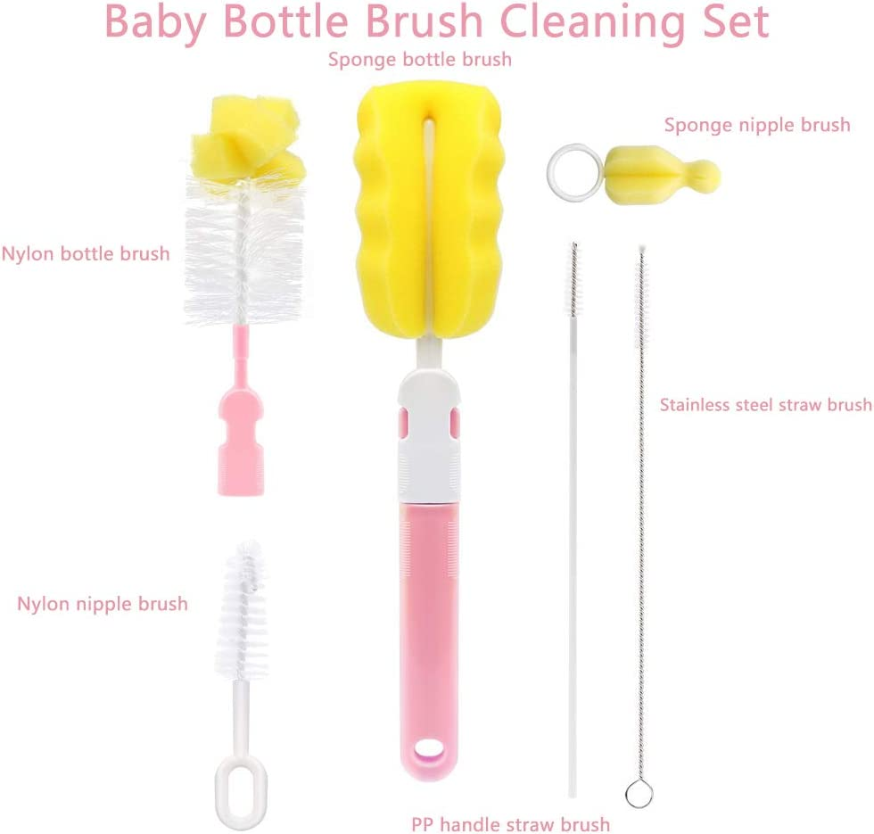 BESLIME Baby Bottle Brush-Bottle Brush Baby Bottle Cleaning Tool,Baby Nipple Brush,Straw Brush,Baby Bottle Brush,Baby Bottle Cleaning Cotton,Baby Pacifier Clean Cotton,Pink,6pcs