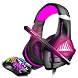 BENGOO Gaming Headset and Mouse, Stereo Gaming Headset for Xbox One, PS4, PC, Noise Cancelling Over Ear Headphones with Mic, LED Light, 3200 DPI Adjustable, Wired Ergonomic Gaming Mouse - Purple