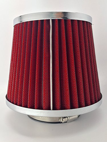 NEW Universal High Performance 3 Inch Inlet Cone Dry Flow Air Filter Oil Free (Red)