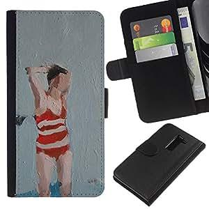 A-type (Bañador Mujer Arte Pintura Roja) Colorida Impresión Funda Cuero Monedero Caja Bolsa Cubierta Caja Piel Card Slots Para LG G2 D800