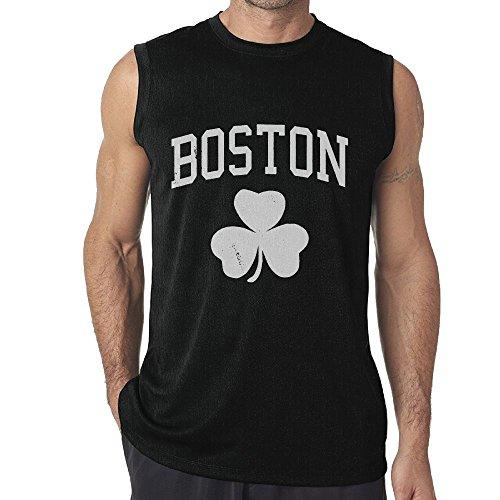 Boston Irish Shamrock Mens 100% Cotton Sleeveless Shirts Top Muscle T-Shirts Tank Top