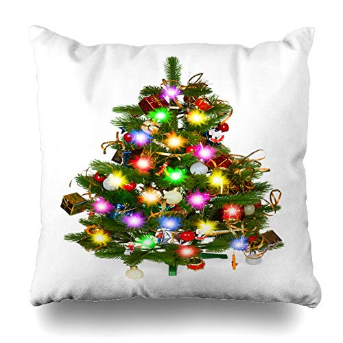 """Darkchocl Daily Decoration Throw Pillow Covers Christmas Tree White Christmas Tree Ball Square Pillowcase Cushion for Couch Sofa or Bed Modern Quality Design Cotton and Polyester 18"""" x 18"""""""