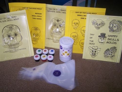 Day of the Dead Sugar Skull Mold PARTY KIT - ONE MOLD INCLUDED - FREE PHONE SUPPORT